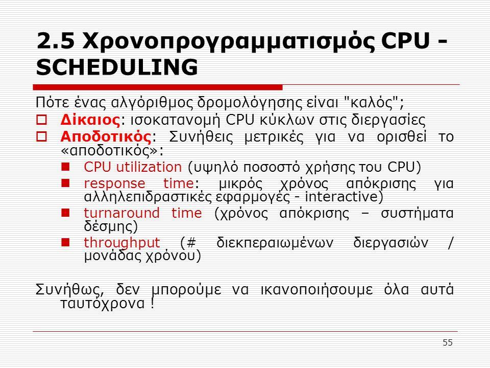 55 2.5 Χρονοπρογραμματισμός CPU - SCHEDULING Πότε ένας αλγόριθμος δρομολόγησης είναι καλός ;  Δίκαιος: ισοκατανομή CPU κύκλων στις διεργασίες  Αποδοτικός: Συνήθεις μετρικές για να ορισθεί το «αποδοτικός»: CPU utilization (υψηλό ποσοστό χρήσης του CPU) response time: μικρός χρόνος απόκρισης για αλληλεπιδραστικές εφαρμογές - interactive) turnaround time (χρόνος απόκρισης – συστήματα δέσμης) throughput (# διεκπεραιωμένων διεργασιών / μονάδας χρόνου) Συνήθως, δεν μπορούμε να ικανοποιήσουμε όλα αυτά ταυτόχρονα !