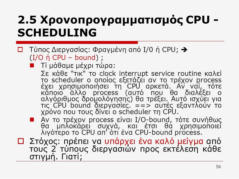 56 2.5 Χρονοπρογραμματισμός CPU - SCHEDULING  Τύπος Διεργασίας: Φραγμένη από I/0 ή CPU;  (I/O ή CPU – bound) ; Τί μάθαμε μέχρι τώρα: Σε κάθε τικ το clock interrupt service routine καλεί το scheduler ο οποίος εξετάζει αν το τρέχον process έχει χρησιμοποιήσει τη CPU αρκετά.