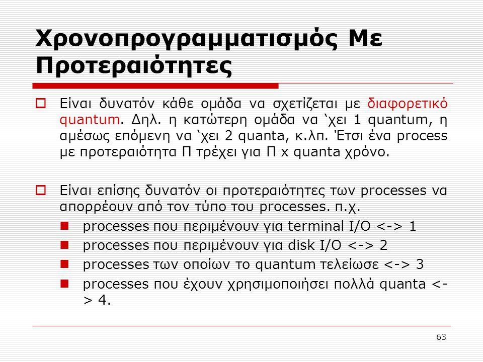 63 Χρονοπρογραμματισμός Με Προτεραιότητες  Είναι δυνατόν κάθε ομάδα να σχετίζεται με διαφορετικό quantum. Δηλ. η κατώτερη ομάδα να 'χει 1 quantum, η