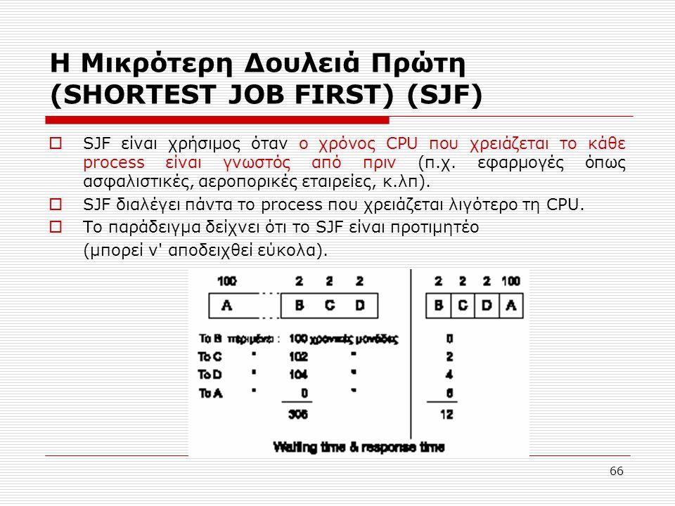 66 Η Μικρότερη Δουλειά Πρώτη (SHORTEST JOB FIRST) (SJF)  SJF είναι χρήσιμος όταν ο χρόνος CPU που χρειάζεται το κάθε process είναι γνωστός από πριν (