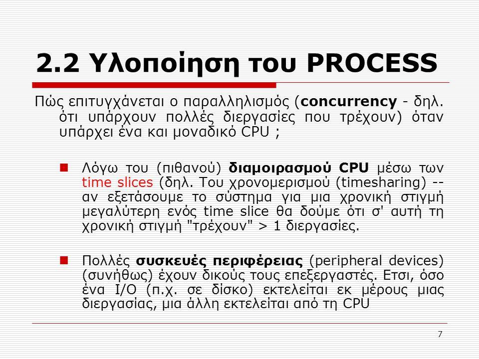 7 2.2 Υλοποίηση του PROCESS Πώς επιτυγχάνεται ο παραλληλισμός (concurrency - δηλ.