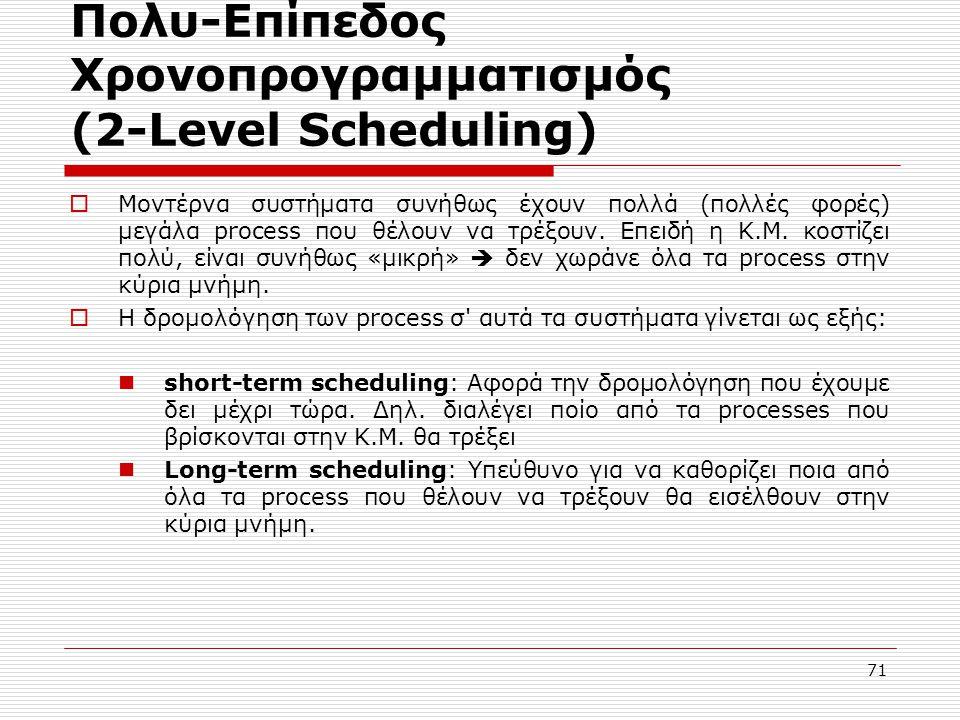 71 Πολυ-Επίπεδος Χρονοπρογραμματισμός (2-Level Scheduling)  Μοντέρνα συστήματα συνήθως έχουν πολλά (πολλές φορές) μεγάλα process που θέλουν να τρέξουν.
