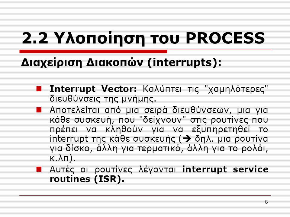8 2.2 Υλοποίηση του PROCESS Διαχείριση Διακοπών (interrupts): Interrupt Vector: Καλύπτει τις χαμηλότερες διευθύνσεις της μνήμης.