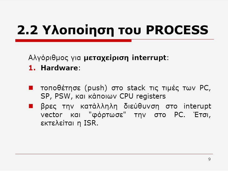 9 2.2 Υλοποίηση του PROCESS Αλγόριθμος για μεταχείριση interrupt: 1.Hardware: τοποθέτησε (push) στο stack τις τιμές των PC, SP, PSW, και κάποιων CPU registers βρες την κατάλληλη διεύθυνση στο interupt vector και φόρτωσε την στο PC.