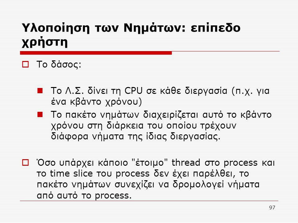 Υλοποίηση των Νημάτων: επίπεδο χρήστη  Το δάσος: Το Λ.Σ. δίνει τη CPU σε κάθε διεργασία (π.χ. για ένα κβάντο χρόνου) Το πακέτο νημάτων διαχειρίζεται