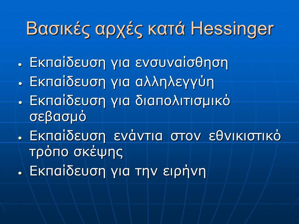 Βασικές αρχές κατά Hessinger  Εκπαίδευση για ενσυναίσθηση Εκπαίδευση για αλληλεγγύη Εκπαίδευση για αλληλεγγύη Εκπαίδευση για διαπολιτισμικό σεβασμό Ε