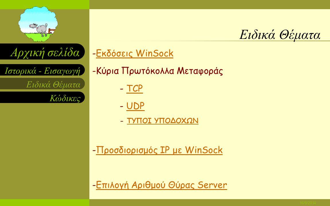 Ειδικά Θέματα Κώδικες Ιστορικά - Εισαγωγή Αρχική σελίδα 16/8/2014 -API ΥποδοχέςAPI Υποδοχές -Λειτουργίες ΥποδοχώνΛειτουργίες Υποδοχών -Βασικές ΣυναρτήσειςΒασικές Συναρτήσεις -Συναρτήσεις Αποστολής ΔεδομένωνΣυναρτήσεις Αποστολής Δεδομένων -Συναρτήσεις Λήψης ΔεδομένωνΣυναρτήσεις Λήψης Δεδομένων Ιστορικά - Εισαγωγή