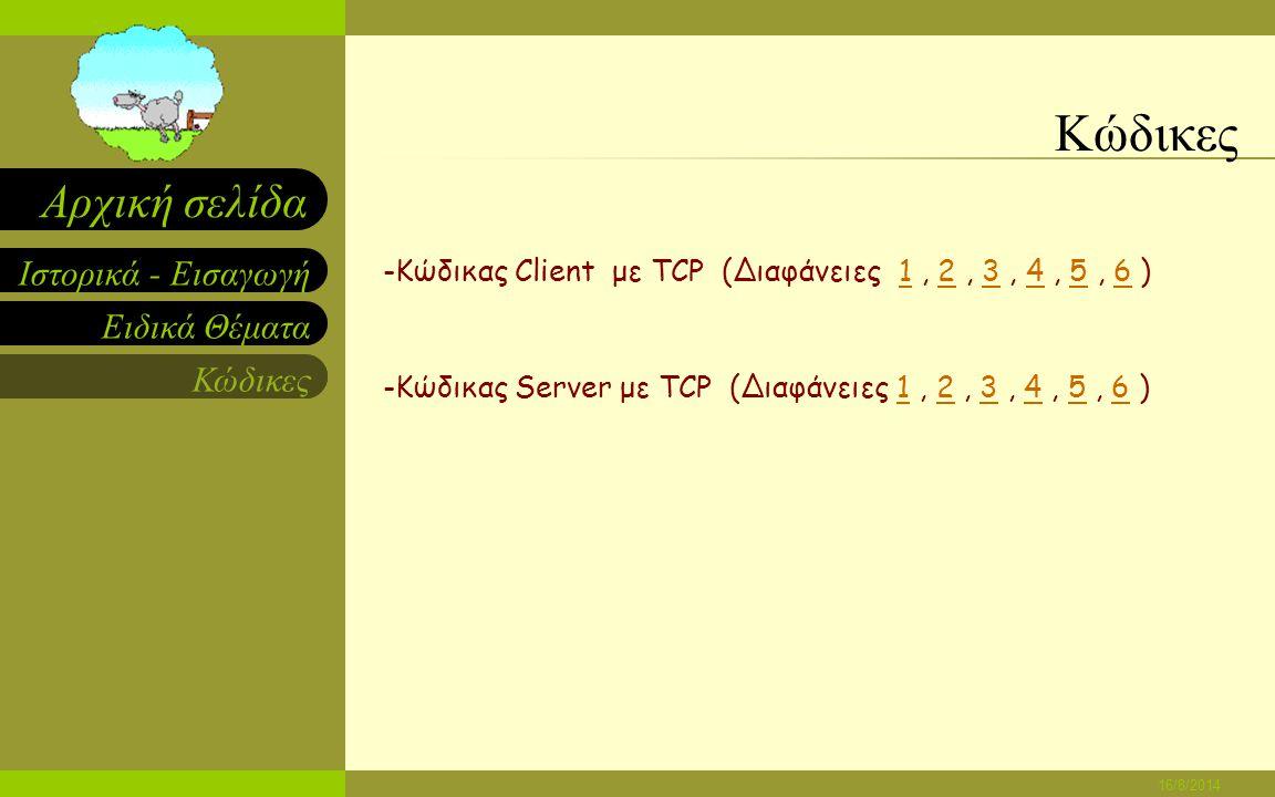 Ειδικά Θέματα Κώδικες Ιστορικά - Εισαγωγή Αρχική σελίδα 16/8/2014 Ειδικά Θέματα -Εκδόσεις WinSockΕκδόσεις WinSock -Κύρια Πρωτόκολλα Μεταφοράς - TCPTCP - UDPUDP - ΤΥΠΟΙ ΥΠΟΔΟΧΩΝΤΥΠΟΙ ΥΠΟΔΟΧΩΝ -Προσδιορισμός IP με WinSockΠροσδιορισμός IP με WinSock -Επιλογή Αριθμού Θύρας ServerΕπιλογή Αριθμού Θύρας Server