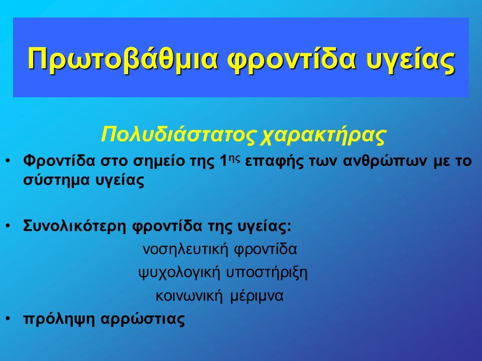 Πρωτοβάθμια φροντίδα υγείας Πολυδιάστατος χαρακτήρας Φροντίδα στο σημείο της 1 ης επαφής των ανθρώπων με το σύστημα υγείας Συνολικότερη φροντίδα της υ