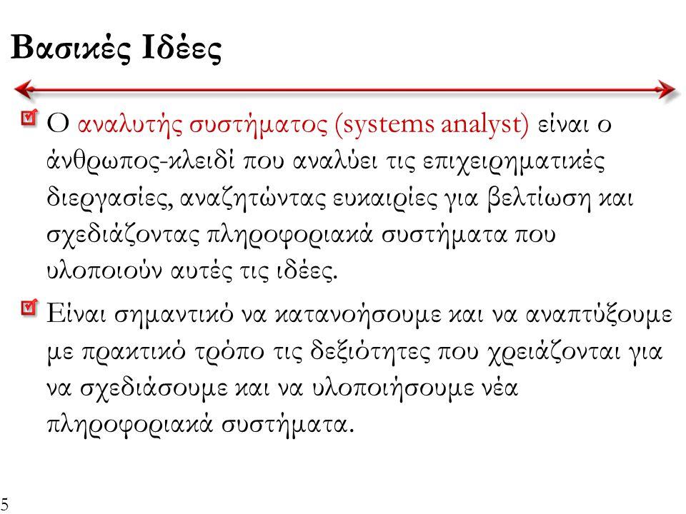 5 Βασικές Ιδέες Ο αναλυτής συστήματος (systems analyst) είναι ο άνθρωπος-κλειδί που αναλύει τις επιχειρηματικές διεργασίες, αναζητώντας ευκαιρίες για