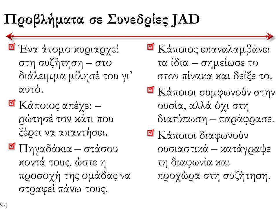94 Προβλήματα σε Συνεδρίες JAD Ένα άτομο κυριαρχεί στη συζήτηση – στο διάλειμμα μίλησέ του γι' αυτό. Κάποιος απέχει – ρώτησέ τον κάτι που ξέρει να απα