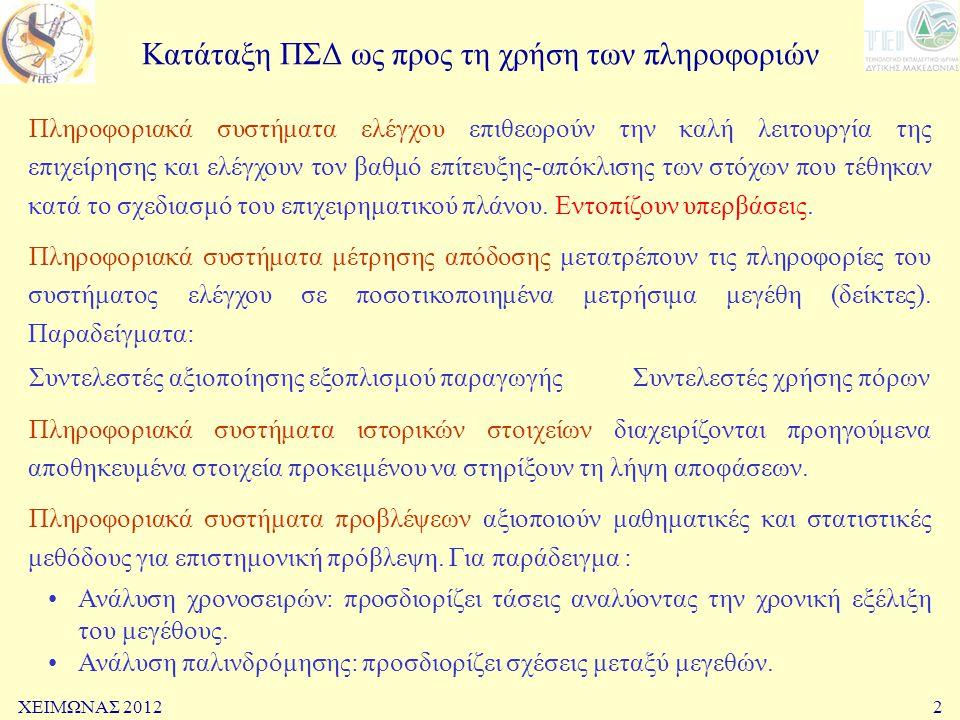 ΧΕΙΜΩΝΑΣ 20122 Κατάταξη ΠΣΔ ως προς τη χρήση των πληροφοριών Πληροφοριακά συστήματα ελέγχου επιθεωρούν την καλή λειτουργία της επιχείρησης και ελέγχου