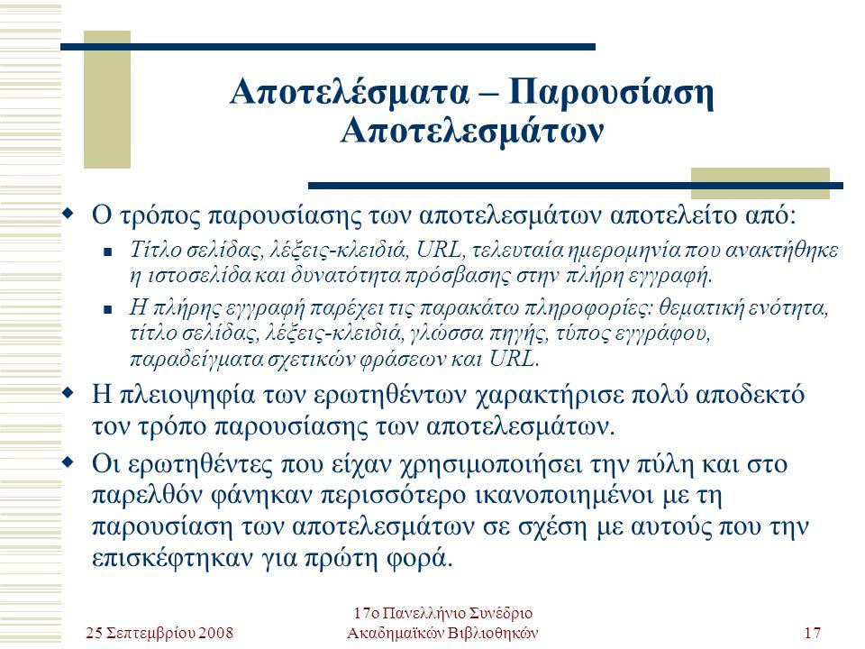 25 Σεπτεμβρίου 2008 17ο Πανελλήνιο Συνέδριο Ακαδημαϊκών Βιβλιοθηκών17 Αποτελέσματα – Παρουσίαση Αποτελεσμάτων  Ο τρόπος παρουσίασης των αποτελεσμάτων αποτελείτο από: Τίτλο σελίδας, λέξεις-κλειδιά, URL, τελευταία ημερομηνία που ανακτήθηκε η ιστοσελίδα και δυνατότητα πρόσβασης στην πλήρη εγγραφή.