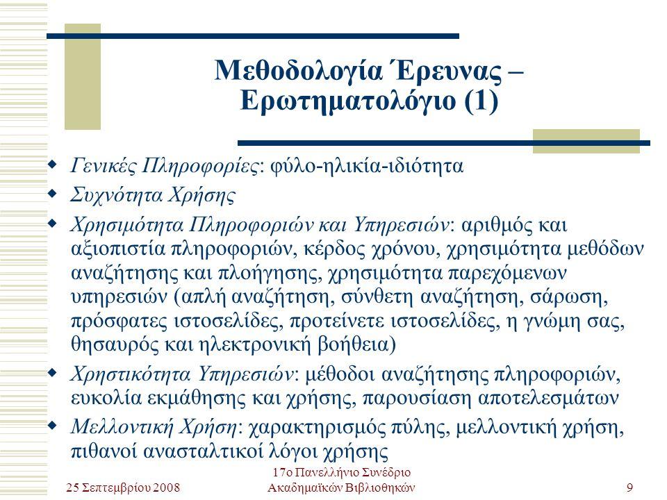 25 Σεπτεμβρίου 2008 17ο Πανελλήνιο Συνέδριο Ακαδημαϊκών Βιβλιοθηκών20 Μελλοντική Έρευνα (1)  Η αρνητική ή/και θετική κριτική των χρηστών βοήθησε στον εντοπισμό σημείων που η πύλη χρειαζόταν βελτίωση ή περαιτέρω ανάπτυξη.