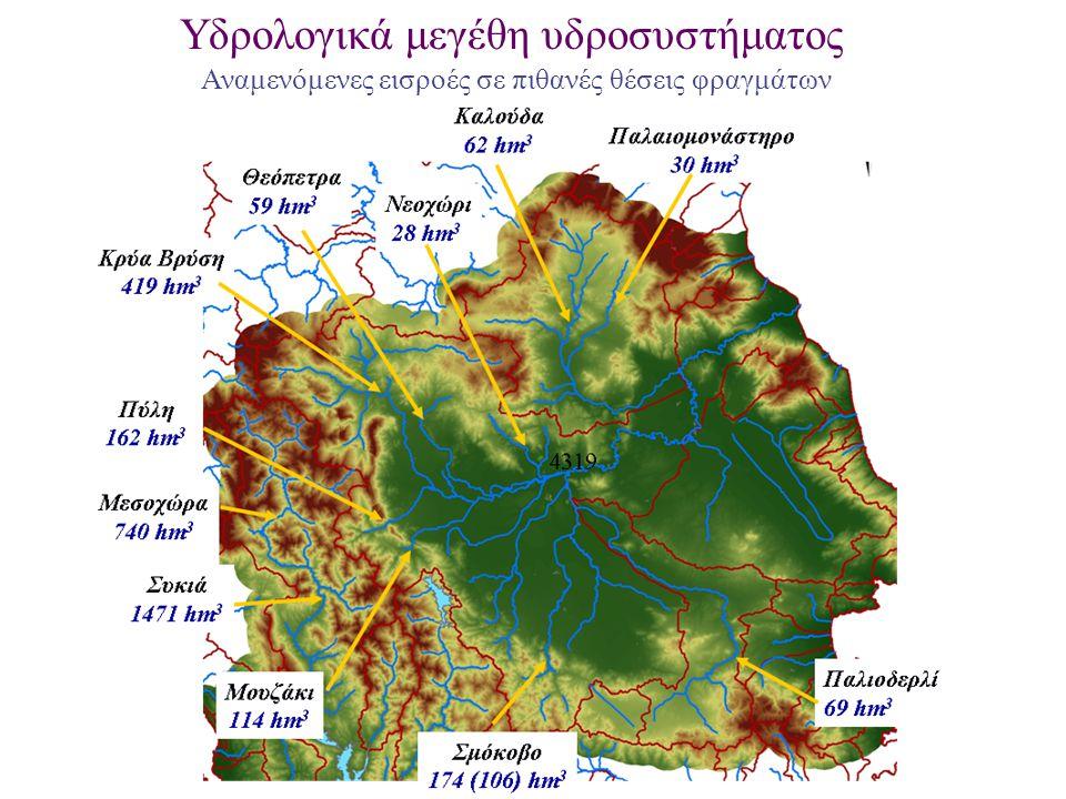 Υδρολογικά μεγέθη υδροσυστήματος Αναμενόμενες εισροές σε πιθανές θέσεις φραγμάτων