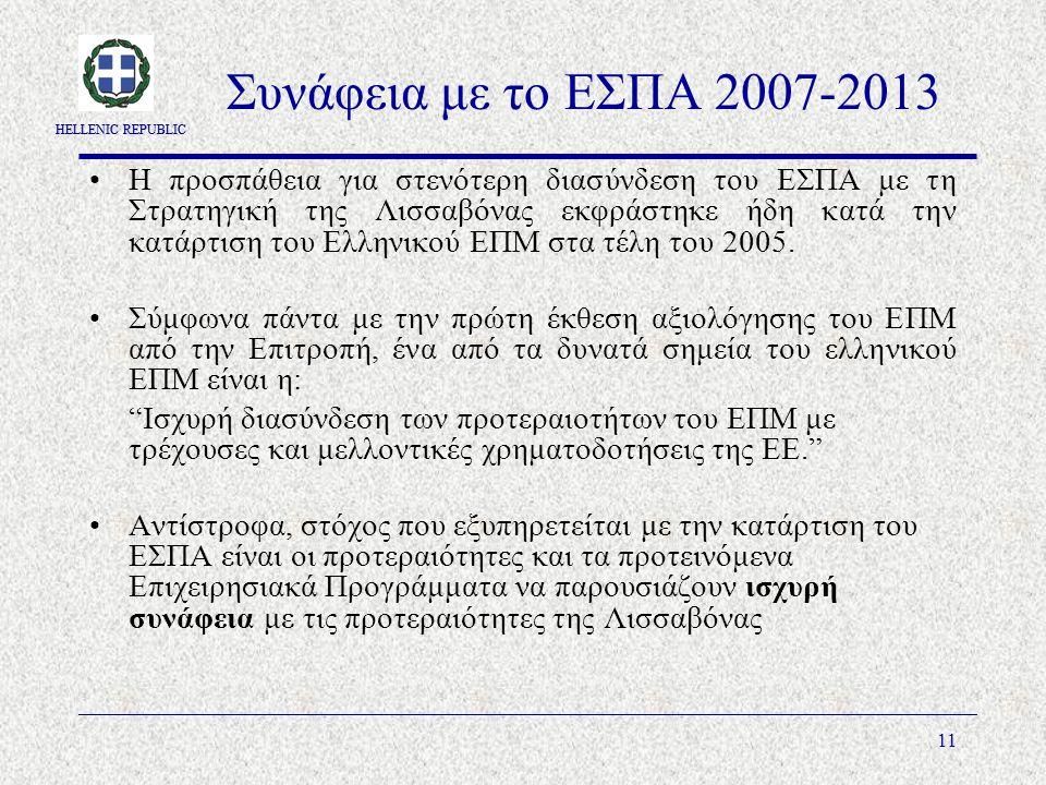 HELLENIC REPUBLIC 11 Συνάφεια με το ΕΣΠΑ 2007-2013 Η προσπάθεια για στενότερη διασύνδεση του ΕΣΠΑ με τη Στρατηγική της Λισσαβόνας εκφράστηκε ήδη κατά την κατάρτιση του Ελληνικού ΕΠΜ στα τέλη του 2005.