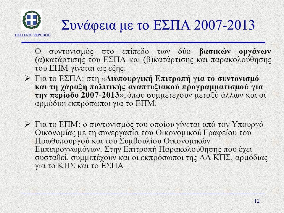 HELLENIC REPUBLIC 12 Συνάφεια με το ΕΣΠΑ 2007-2013 Ο συντονισμός στο επίπεδο των δύο βασικών οργάνων (α)κατάρτισης του ΕΣΠΑ και (β)κατάρτισης και παρακολούθησης του ΕΠΜ γίνεται ως εξής:  Για το ΕΣΠΑ: στη «Διυπουργική Επιτροπή για το συντονισμό και τη χάραξη πολιτικής αναπτυξιακού προγραμματισμού για την περίοδο 2007-2013», όπου συμμετέχουν μεταξύ άλλων και οι αρμόδιοι εκπρόσωποι για το ΕΠΜ.