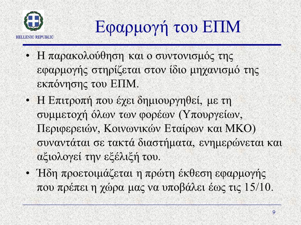 HELLENIC REPUBLIC 9 Εφαρμογή του ΕΠΜ Η παρακολούθηση και ο συντονισμός της εφαρμογής στηρίζεται στον ίδιο μηχανισμό της εκπόνησης του ΕΠΜ.