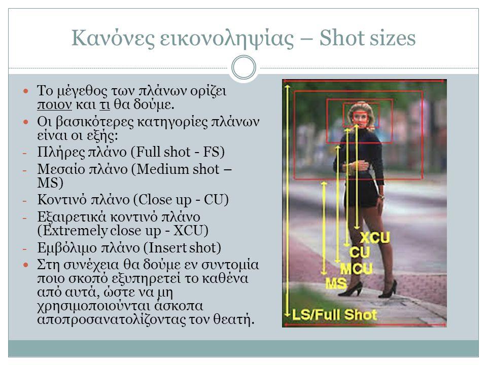 Κανόνες εικονοληψίας – Shot sizes Το μέγεθος των πλάνων ορίζει ποιον και τι θα δούμε. Οι βασικότερες κατηγορίες πλάνων είναι οι εξής: - Πλήρες πλάνο (