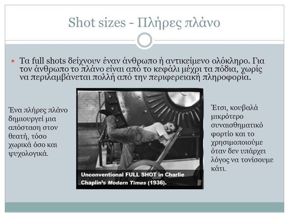Shot sizes - Πλήρες πλάνο Τα full shots δείχνουν έναν άνθρωπο ή αντικείμενο ολόκληρο. Για τον άνθρωπο το πλάνο είναι από το κεφάλι μέχρι τα πόδια, χωρ