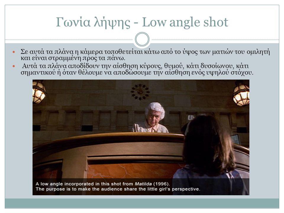 Γωνία λήψης - Low angle shot Σε αυτά τα πλάνα η κάμερα τοποθετείται κάτω από το ύψος των ματιών του ομιλητή και είναι στραμμένη προς τα πάνω. Αυτά τα