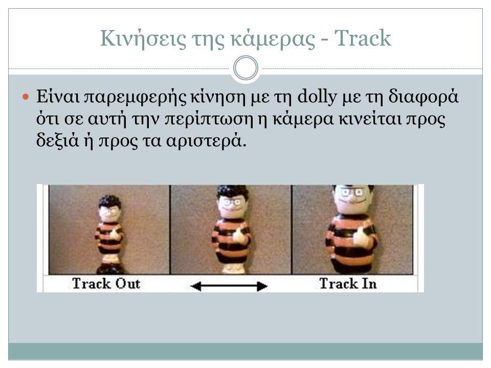 Κινήσεις της κάμερας - Track Είναι παρεμφερής κίνηση με τη dolly με τη διαφορά ότι σε αυτή την περίπτωση η κάμερα κινείται προς δεξιά ή προς τα αριστε