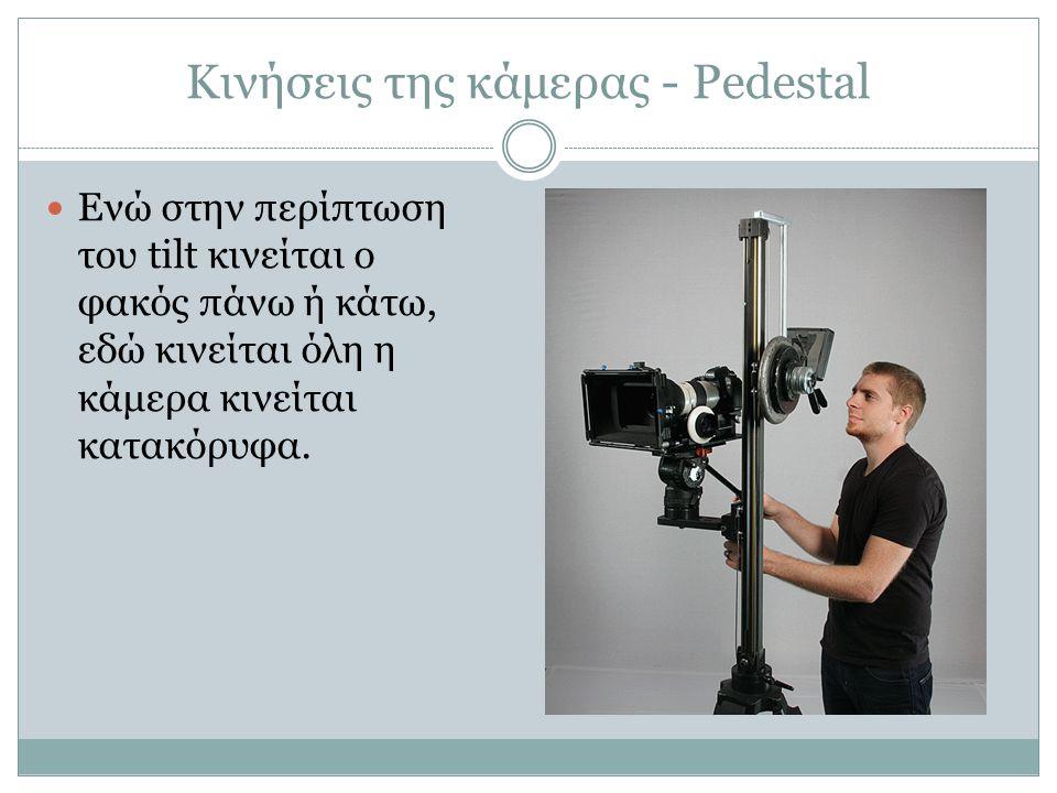 Κινήσεις της κάμερας - Pedestal Ενώ στην περίπτωση του tilt κινείται ο φακός πάνω ή κάτω, εδώ κινείται όλη η κάμερα κινείται κατακόρυφα.