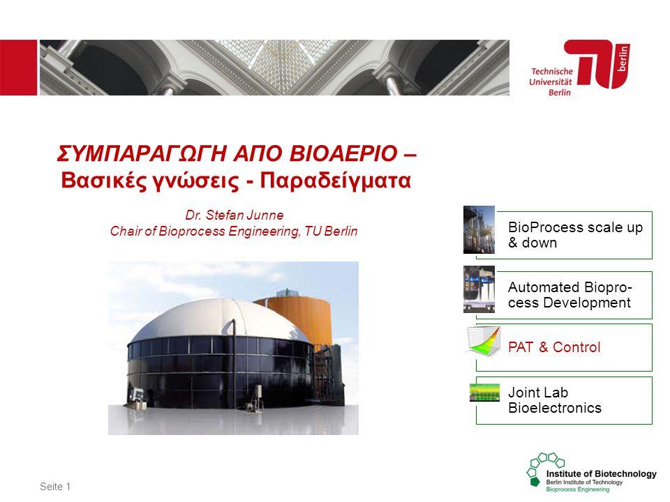 Seite 1 ΣΥΜΠΑΡΑΓΩΓΗ ΑΠΟ ΒΙΟΑΕΡΙΟ – Βασικές γνώσεις - Παραδείγματα Dr. Stefan Junne Chair of Bioprocess Engineering, TU Berlin