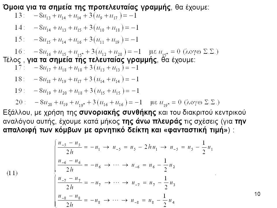 10 Όμοια για τα σημεία της προτελευταίας γραμμής, θα έχουμε: Τέλος, για τα σημεία της τελευταίας γραμμής, θα έχουμε: Εξάλλου, με χρήση της συνοριακής συνθήκης και του διακριτού κεντρικού αναλόγου αυτής, έχουμε κατά μήκος της άνω πλευράς τις σχέσεις (για την απαλοιφή των κόμβων με αρνητικό δείκτη και «φανταστική τιμή») :