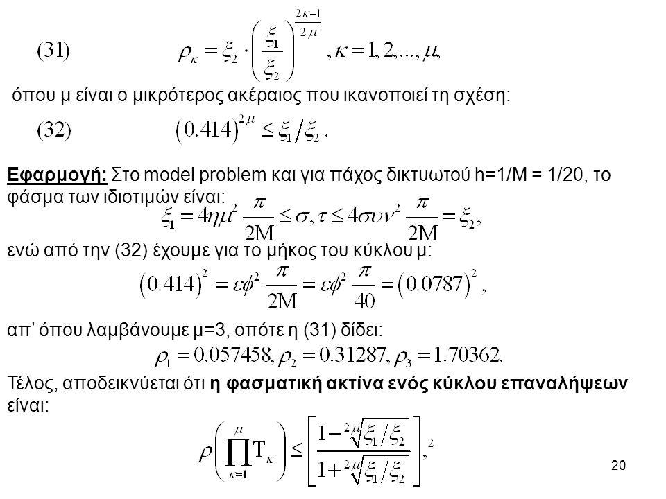 20 όπου μ είναι ο μικρότερος ακέραιος που ικανοποιεί τη σχέση: Εφαρμογή: Στο model problem και για πάχος δικτυωτού h=1/M = 1/20, το φάσμα των ιδιοτιμών είναι: ενώ από την (32) έχουμε για το μήκος του κύκλου μ: απ' όπου λαμβάνουμε μ=3, οπότε η (31) δίδει: Τέλος, αποδεικνύεται ότι η φασματική ακτίνα ενός κύκλου επαναλήψεων είναι: