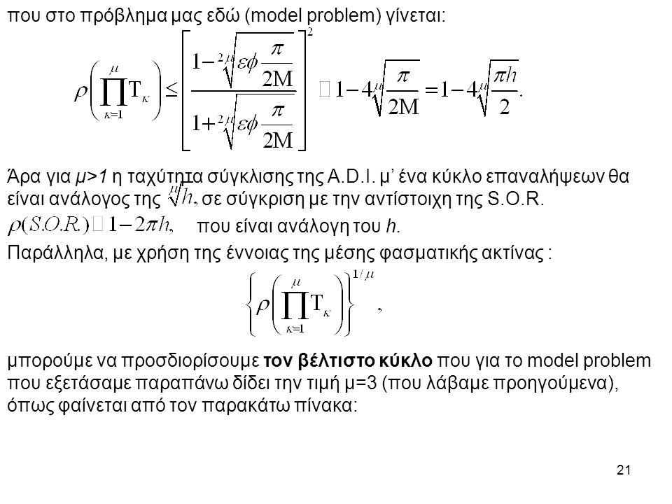 21 που στο πρόβλημα μας εδώ (model problem) γίνεται: Άρα για μ>1 η ταχύτητα σύγκλισης της A.D.I. μ' ένα κύκλο επαναλήψεων θα είναι ανάλογος της σε σύγ