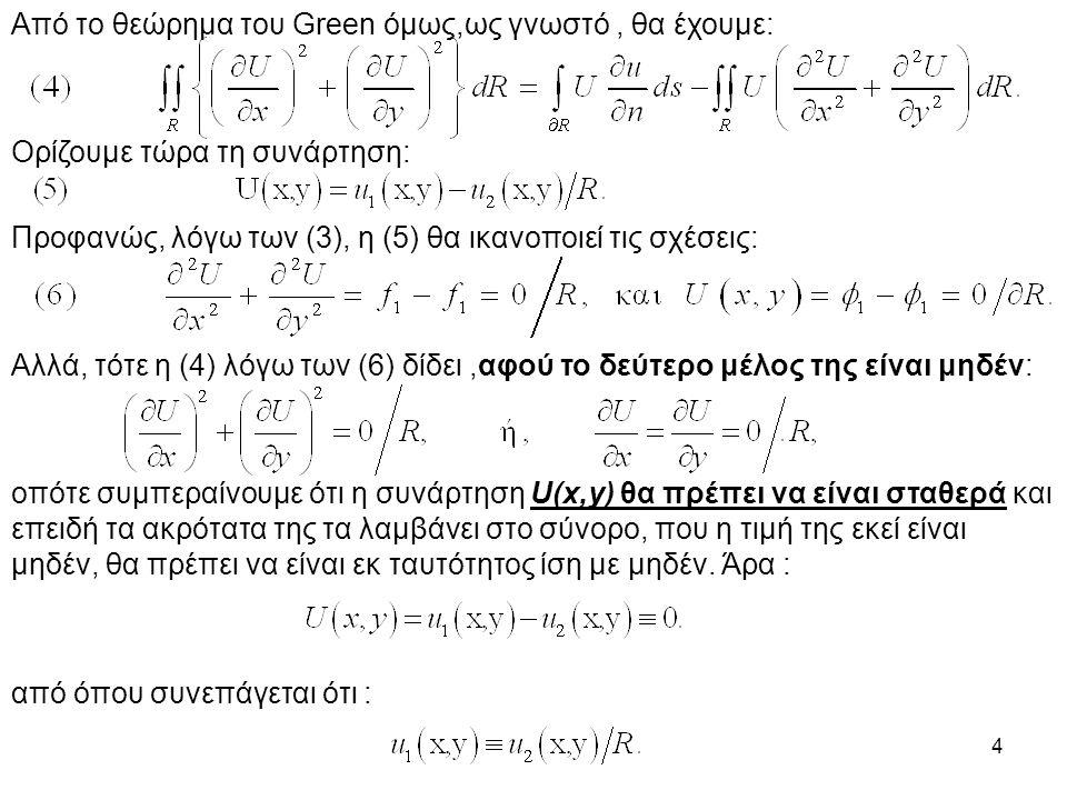 4 Από το θεώρημα του Green όμως,ως γνωστό, θα έχουμε: Ορίζουμε τώρα τη συνάρτηση: Προφανώς, λόγω των (3), η (5) θα ικανοποιεί τις σχέσεις: Αλλά, τότε η (4) λόγω των (6) δίδει,αφού το δεύτερο μέλος της είναι μηδέν: οπότε συμπεραίνουμε ότι η συνάρτηση U(x,y) θα πρέπει να είναι σταθερά και επειδή τα ακρότατα της τα λαμβάνει στο σύνορο, που η τιμή της εκεί είναι μηδέν, θα πρέπει να είναι εκ ταυτότητος ίση με μηδέν.