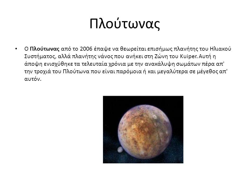 Πλούτωνας Ο Πλούτωνας από το 2006 έπαψε να θεωρείται επισήμως πλανήτης του Ηλιακού Συστήματος, αλλά πλανήτης νάνος που ανήκει στη Ζώνη του Kuiper. Αυτ