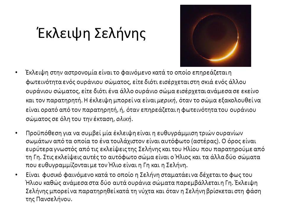 Έκλειψη Σελήνης Έκλειψη στην αστρονομία είναι το φαινόμενο κατά το οποίο επηρεάζεται η φωτεινότητα ενός ουράνιου σώματος, είτε διότι εισέρχεται στη σκ