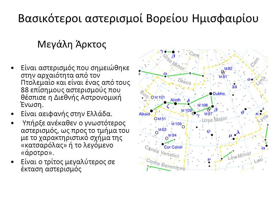 Βασικότεροι αστερισμοί Βορείου Ημισφαιρίου Μεγάλη Άρκτος Είναι αστερισμός που σημειώθηκε στην αρχαιότητα από τον Πτολεμαίο και είναι ένας από τους 88