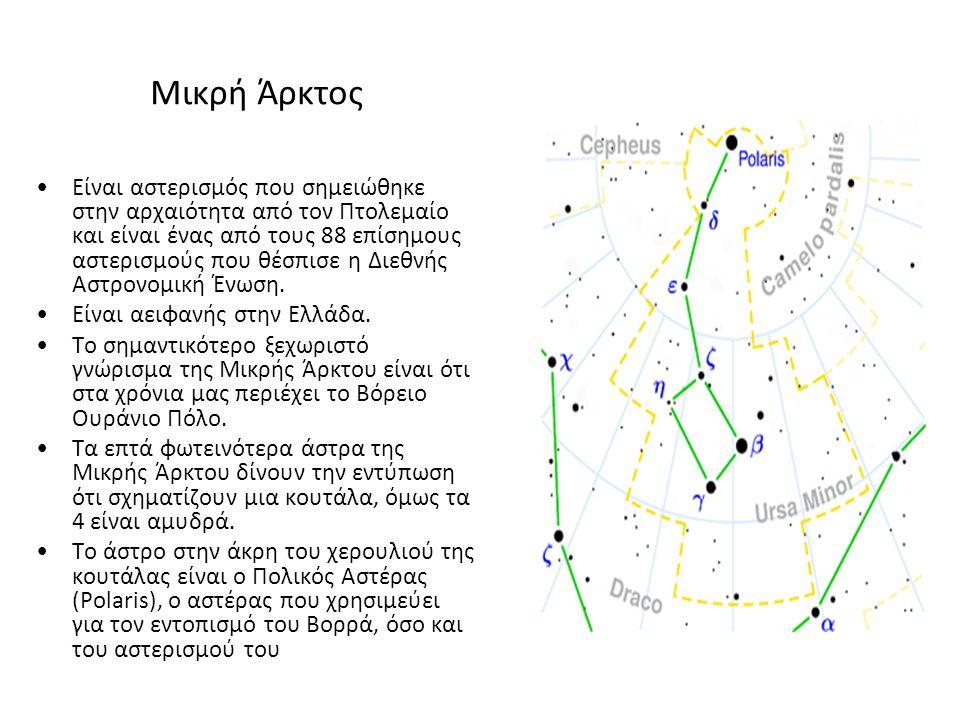Μικρή Άρκτος Είναι αστερισμός που σημειώθηκε στην αρχαιότητα από τον Πτολεμαίο και είναι ένας από τους 88 επίσημους αστερισμούς που θέσπισε η Διεθνής