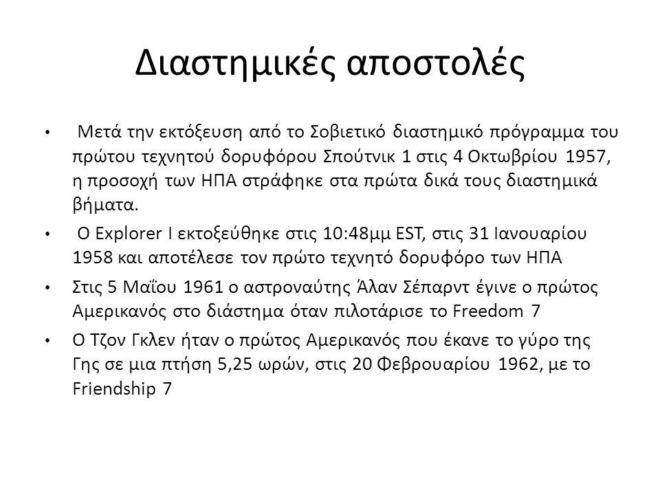 Διαστημικές αποστολές Μετά την εκτόξευση από τo Σοβιετικό διαστημικό πρόγραμμα του πρώτου τεχνητού δορυφόρου Σπούτνικ 1 στις 4 Οκτωβρίου 1957, η προσο