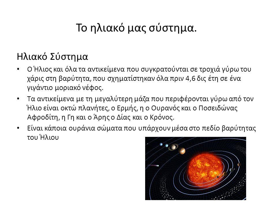 Το ηλιακό μας σύστημα. Ηλιακό Σύστημα Ο Ήλιος και όλα τα αντικείμενα που συγκρατούνται σε τροχιά γύρω του χάρις στη βαρύτητα, που σχηματίστηκαν όλα πρ