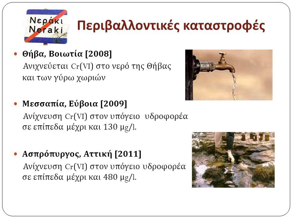 Περιβαλλοντικές καταστροφές Θήβα, Βοιωτία [2008] Ανιχνεύεται Cr(VI) στο νερό της Θήβας και των γύρω χωριών Μεσσαπία, Εύβοια [2009] Ανίχνευση Cr(VI) στον υπόγειο υδροφορέα σε επίπεδα μέχρι και 130 μ g/l.