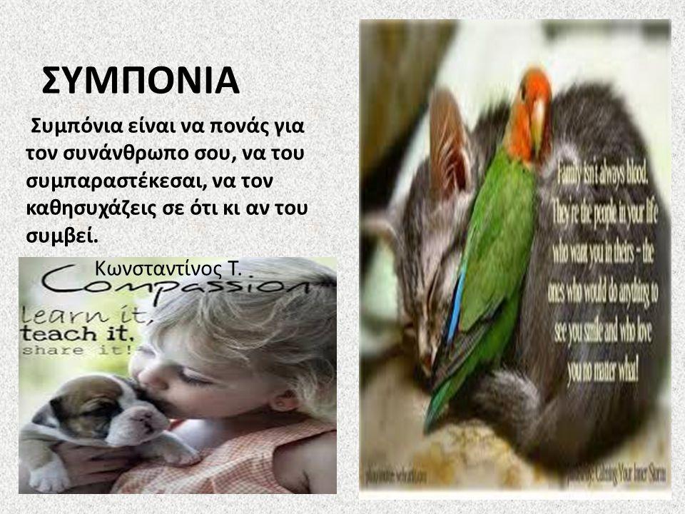 ΣΥΜΠΟΝΙΑ Συμπόνια είναι να πονάς για τον συνάνθρωπο σου, να του συμπαραστέκεσαι, να τον καθησυχάζεις σε ότι κι αν του συμβεί. Κωνσταντίνος Τ.