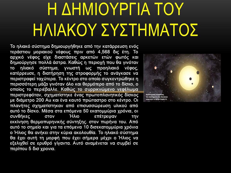 Το ηλιακό σύστημα δημιουργήθηκε από την κατάρρευση ενός τεράστιου μοριακού νέφους πριν από 4,568 δις έτη.