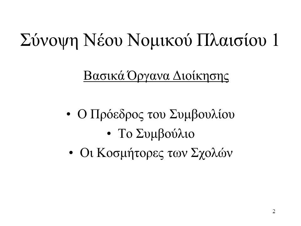 2 Σύνοψη Νέου Νομικού Πλαισίου 1 Βασικά Όργανα Διοίκησης Ο Πρόεδρος του Συμβουλίου Το Συμβούλιο Οι Κοσμήτορες των Σχολών