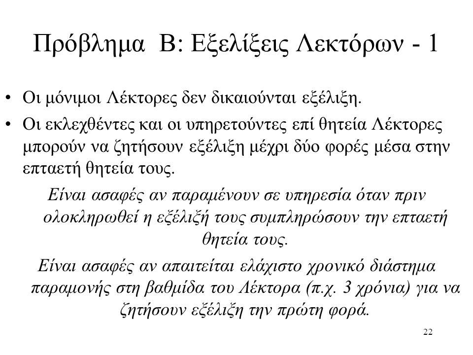 22 Πρόβλημα B: Εξελίξεις Λεκτόρων - 1 Οι μόνιμοι Λέκτορες δεν δικαιούνται εξέλιξη.