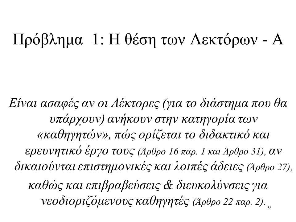 9 Πρόβλημα 1: Η θέση των Λεκτόρων - Α Είναι ασαφές αν οι Λέκτορες (για το διάστημα που θα υπάρχουν) ανήκουν στην κατηγορία των «καθηγητών», πώς ορίζεται το διδακτικό και ερευνητικό έργο τους (Άρθρο 16 παρ.