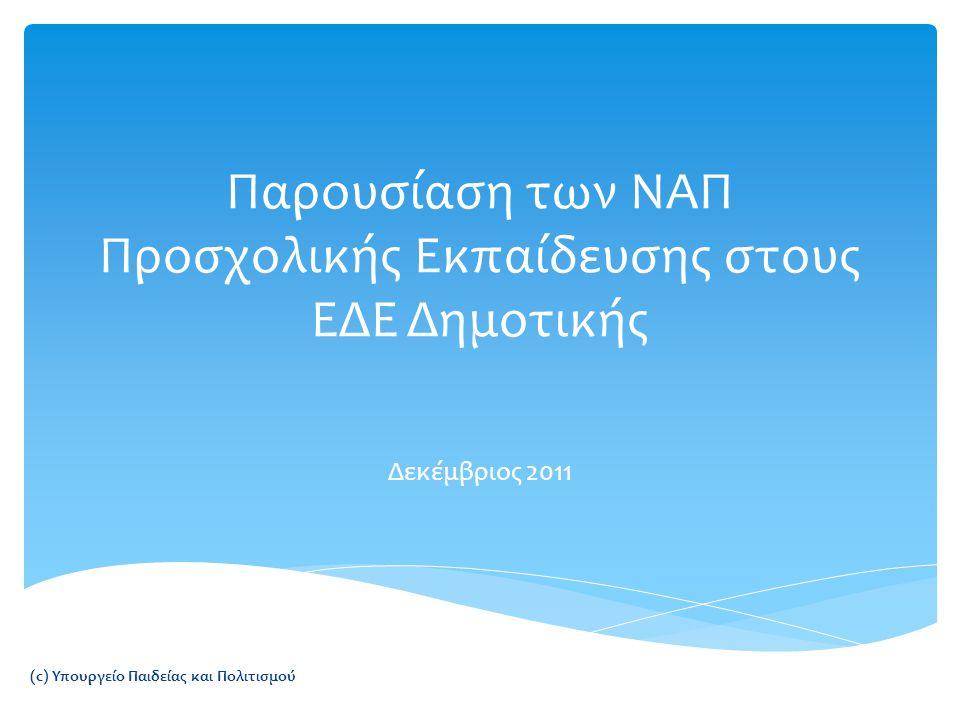 Παρουσίαση των ΝΑΠ Προσχολικής Εκπαίδευσης στους ΕΔΕ Δημοτικής Δεκέμβριος 2011 (c) Υπουργείο Παιδείας και Πολιτισμού