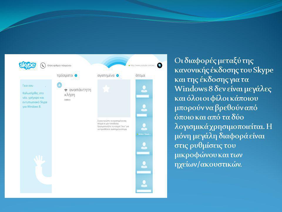 Οι διαφορές μεταξύ της κανονικής έκδοσης του Skype και της έκδοσης για τα Windows 8 δεν είναι μεγάλες και όλοι οι φίλοι κάποιου μπορούν να βρεθούν από όποιο και από τα δύο λογισμικά χρησιμοποιείται.
