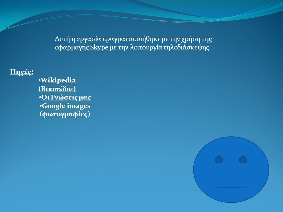 Αυτή η εργασία πραγματοποιήθηκε με την χρήση της εφαρμογής Skype με την λειτουργία τηλεδιάσκεψης.