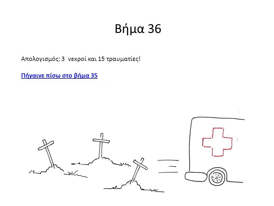 Βήμα 36 Απολογισμός: 3 νεκροί και 15 τραυματίες! Πήγαινε πίσω στο βήμα 35