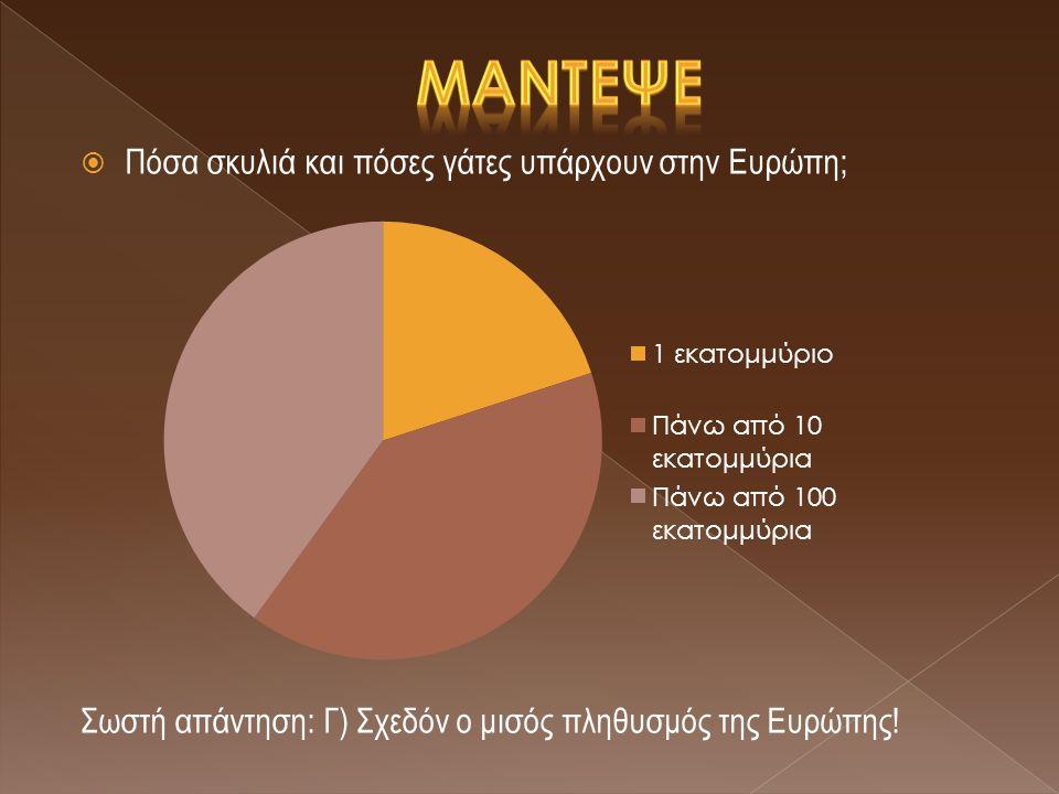 ΠΠόσα σκυλιά και πόσες γάτες υπάρχουν στην Ευρώπη; Σωστή απάντηση: Γ) Σχεδόν ο μισός πληθυσμός της Ευρώπης!