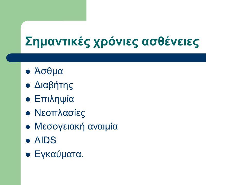 Σημαντικές χρόνιες ασθένειες Άσθμα Διαβήτης Επιληψία Νεοπλασίες Μεσογειακή αναιμία AIDS Εγκαύματα.